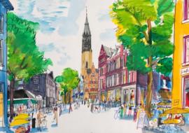Delft  - Vismarkt gezien va de Hippolytusbuurt