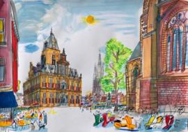 Delft - Markt met het Stadhuis en een hoek Nieuwe Kerk