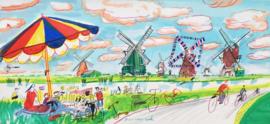 Kinderdijk - picknick in Kinderdijk met uitzicht op de molens