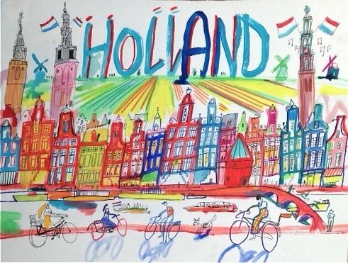 Holland met Amsterdamse grachtenhuizen
