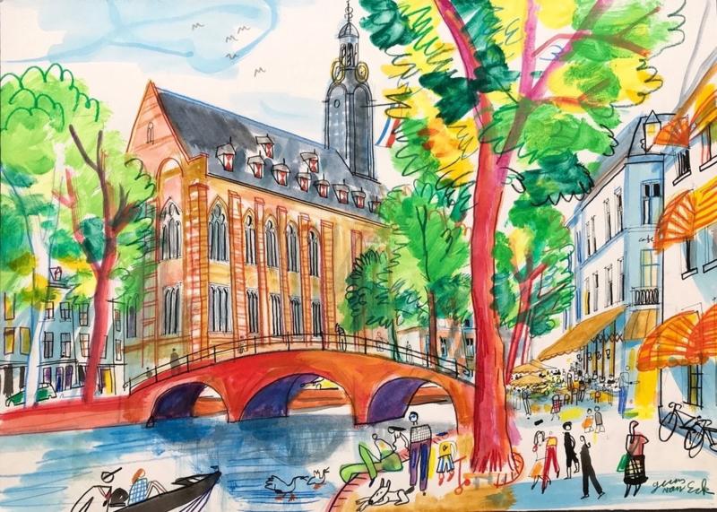 Leiden - Rapenburg met het Academiegebouw en terras van Barrera