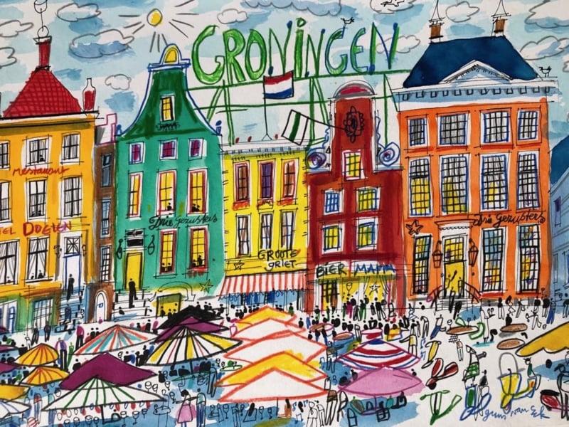 Groningen - De Grote Markt  met eetcafés