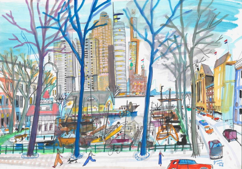 Rotterdam, Veerhaven en Koninklijke Roei en Zeilvereniging De Maas in de winter