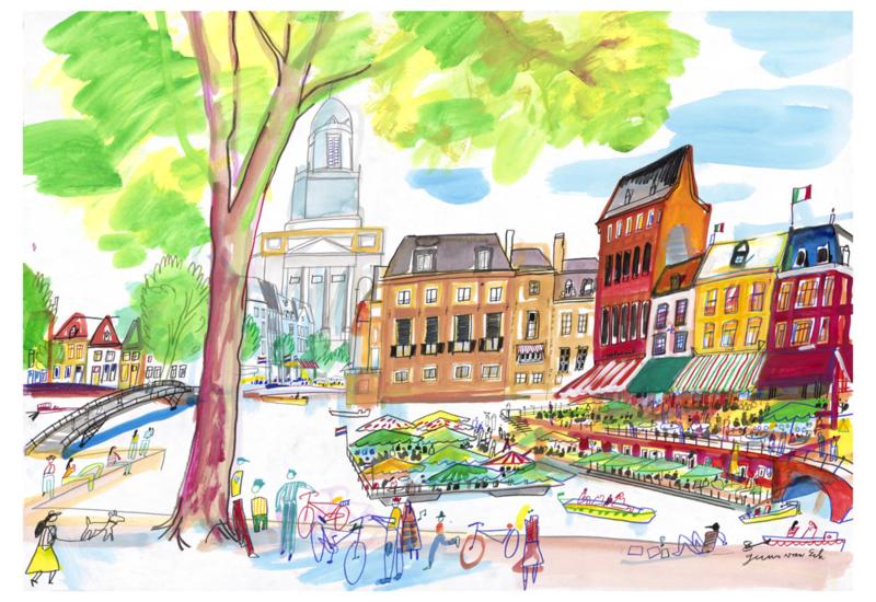Leiden, Annie's met drijvend terras op de kruising van Oude en Nieuwe Rijn
