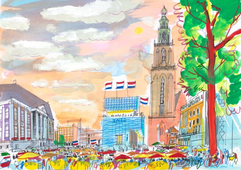 Groningen - Grote Markt met het Stadhuis en Vindicat