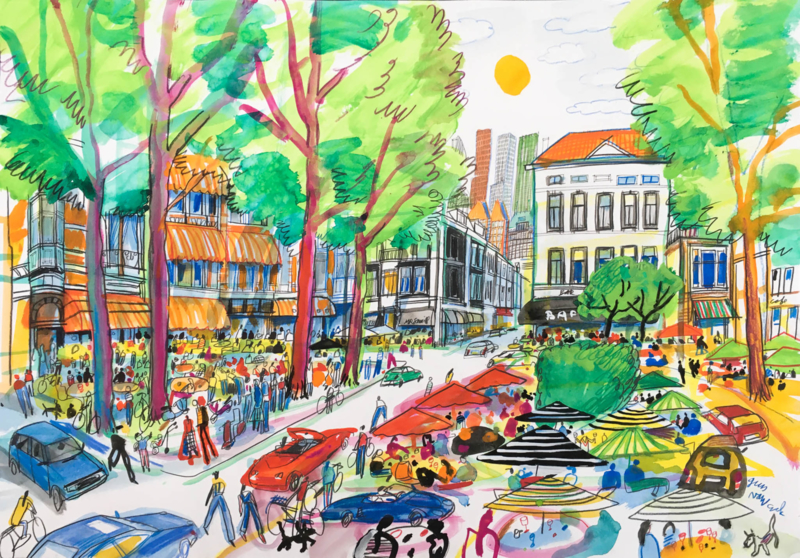 Den Haag - Anna Paulownaplein terrassen en parasols