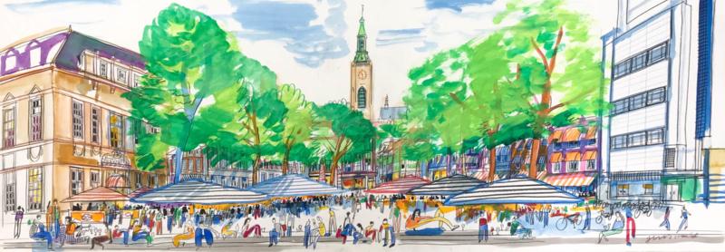 Den Haag - Grote Markt met de Boterwaag en terrassen