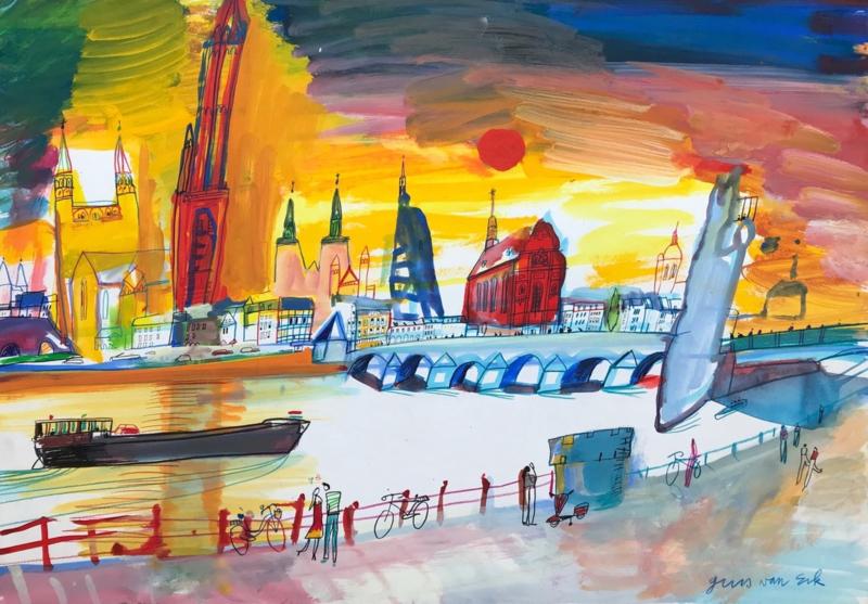 Maastricht - de Sint Servaasbrug en de stad gezien va de kant van Wyck