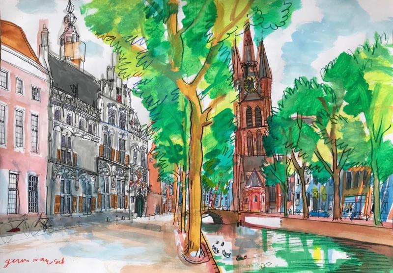 Delft, Oude Delft, historische gracht nabij De Oude Kerk