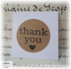 10 STICKERS ROND THANK YOU 25 MM (2 soorten)
