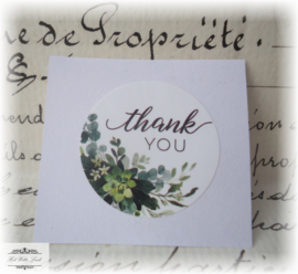 10 STICKERS ROND THANK YOU WIT GROEN 25 MM
