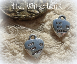 10 BEDELS HARTJE LIVE THE DREAM 12 x 10 x 2 MM