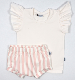 Kleine Baasjes SALE - Setje Shorts & Ruffle top Vertical Pink&Cream - maat 74