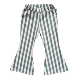 Kleine Baasjes Organic - Flared Pants Vertical Green&Cream