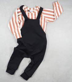 Dungaree Black + Sweater Vertical Rust&Cream