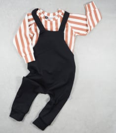 XMAS SET - Dungaree Black + Sweater Vertical Rust&Cream