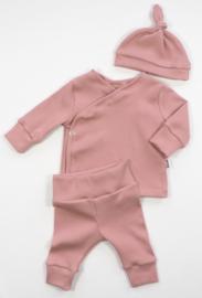 Kleine Baasjes NEWBORN - Overslag Vestje Rib Pink