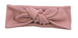 Kleine Baasjes - geknoopte haarband Rib Pink