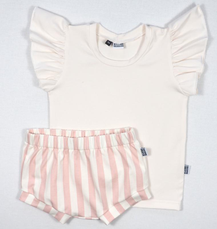 Kleine Baasjes Organic - Baby Shorts Vertical Pink&Cream