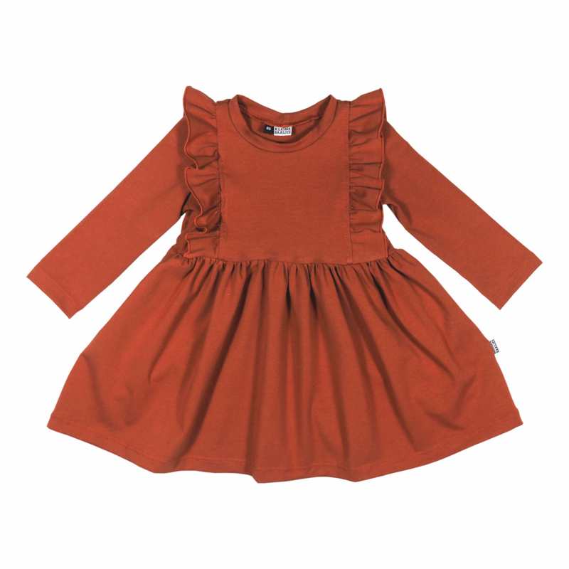 Kleine Baasjes Organic - Ruffled Dress Rusty