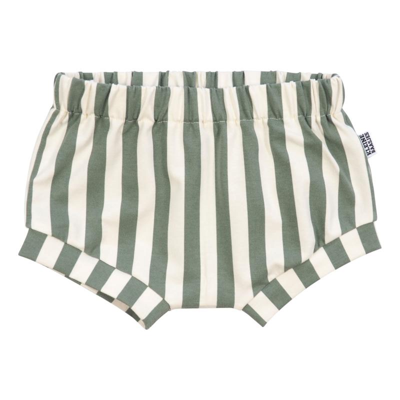 Kleine Baasjes Organic - Baby Shorts Vertical Green&Cream