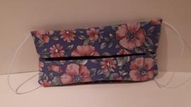 Mondkapje blauw bloem