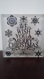Glasblok We wish you a merry christmasGla