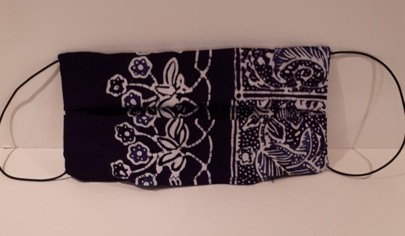 Mondkapje blauw batik