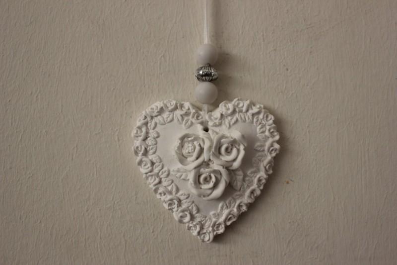 Geursteen hanger hart met rozen.
