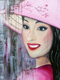 Schilderij Vietnamese vrouw