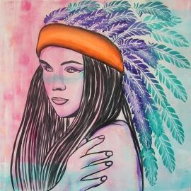 Schilderij Indiaan met Veren