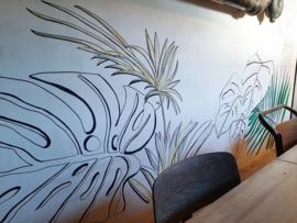 Muurschildering atelierruimte