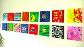 16 kleurrijke schilderijen