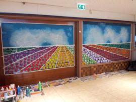 Raamschildering winkelcentrum Alblasserdam