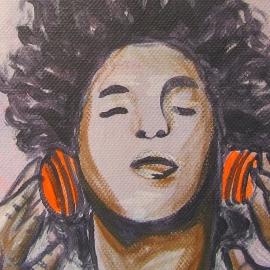 Schilderij Koptelefoon met Afro Jongen