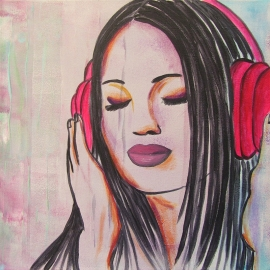 Schilderij Meid met Koptelefoon