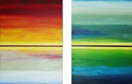 Schilderijen Horizon dag en nacht