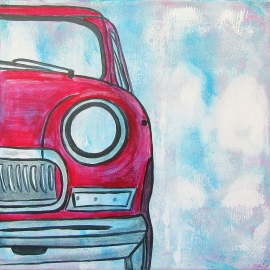Schilderij Auto (Rode Mini Cooper)