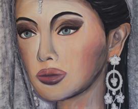 Schilderij Indiase bruid