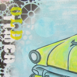 Schilderij Auto (Gele Oldtimer)