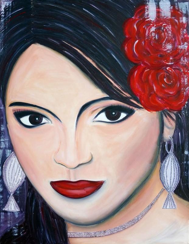 Schilderij Spanish Woman