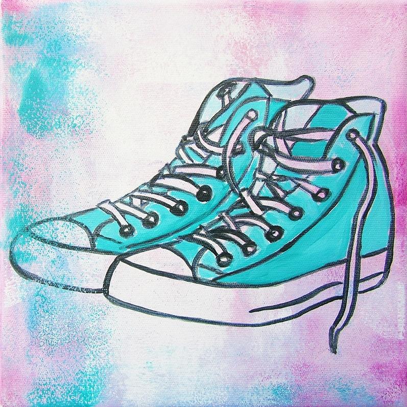 Schilderij Groene Sneakers