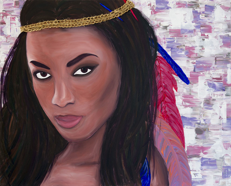 Schilderij Indiaanse Vrouw met Veren