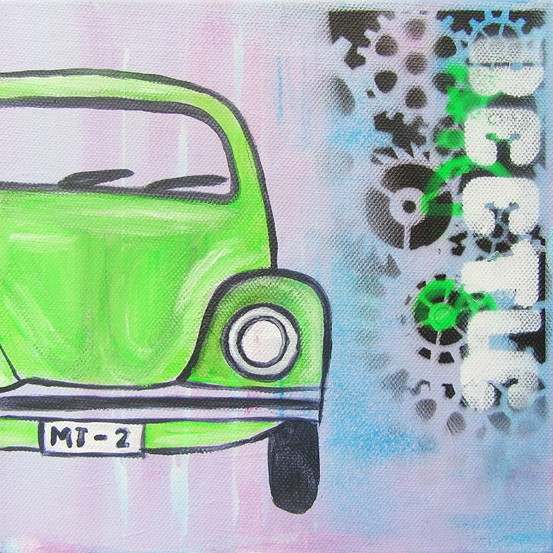 Schilderij Auto (Groene Kever)