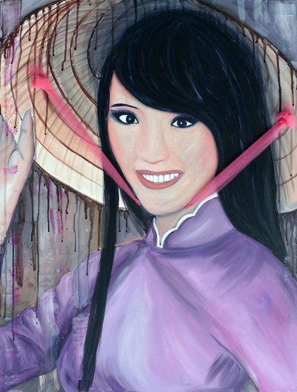 Schilderij Vietnamees meisje