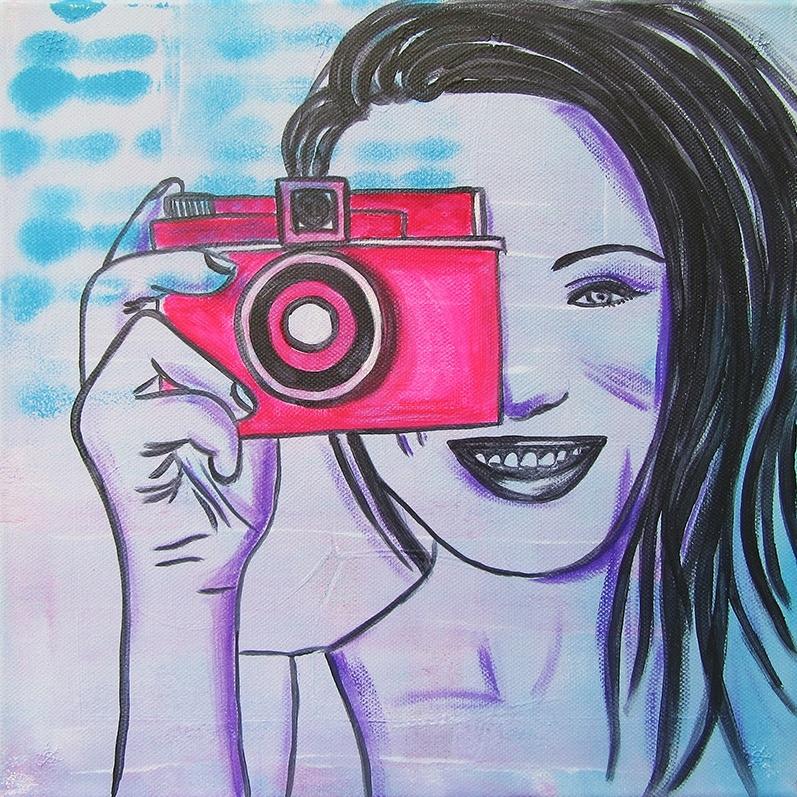 Schilderij Meid met Fototoestel