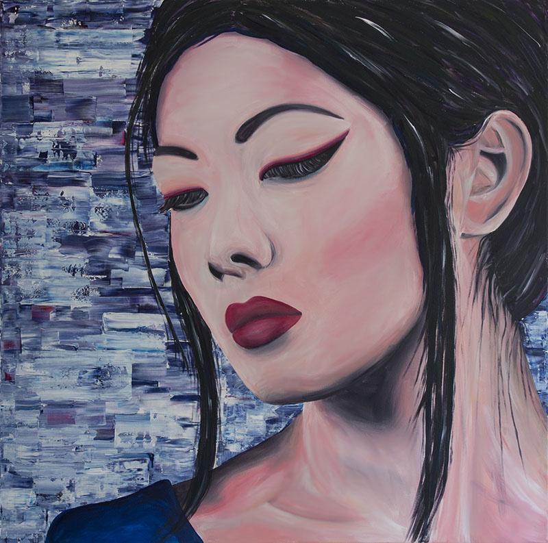 Schilderij Vrouw uit Azie