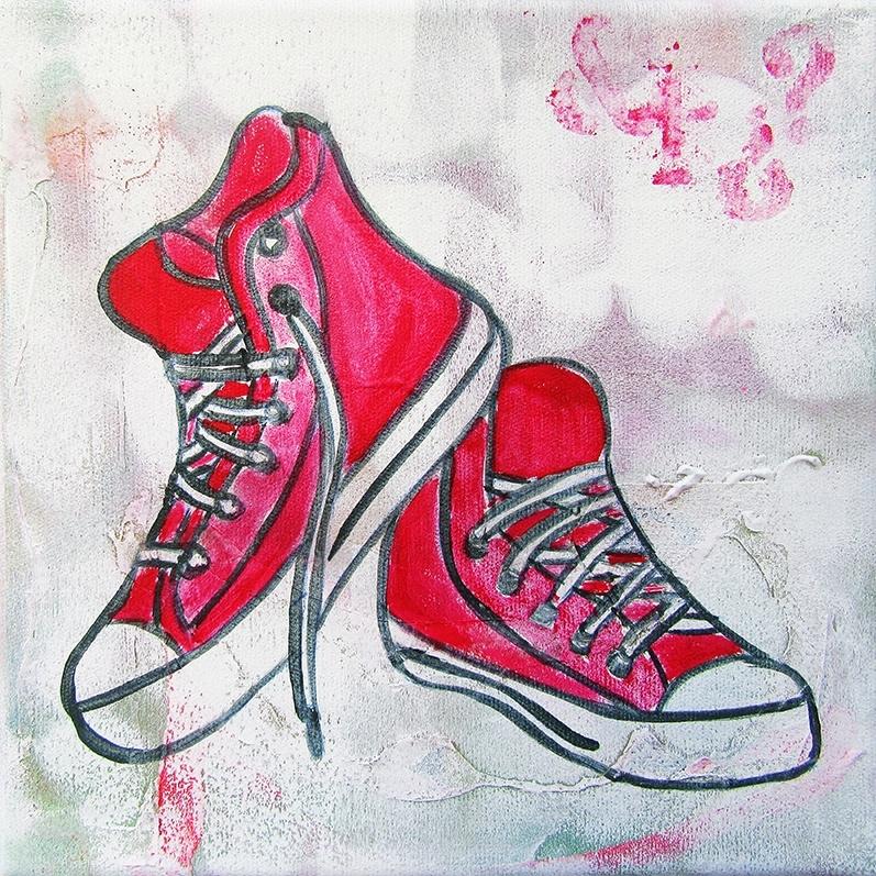 Schilderij Rode Sneakers