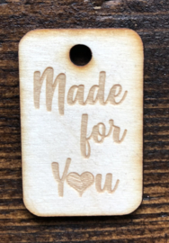 Houten label Made for you