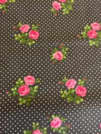 Katoen grijs met pink roos